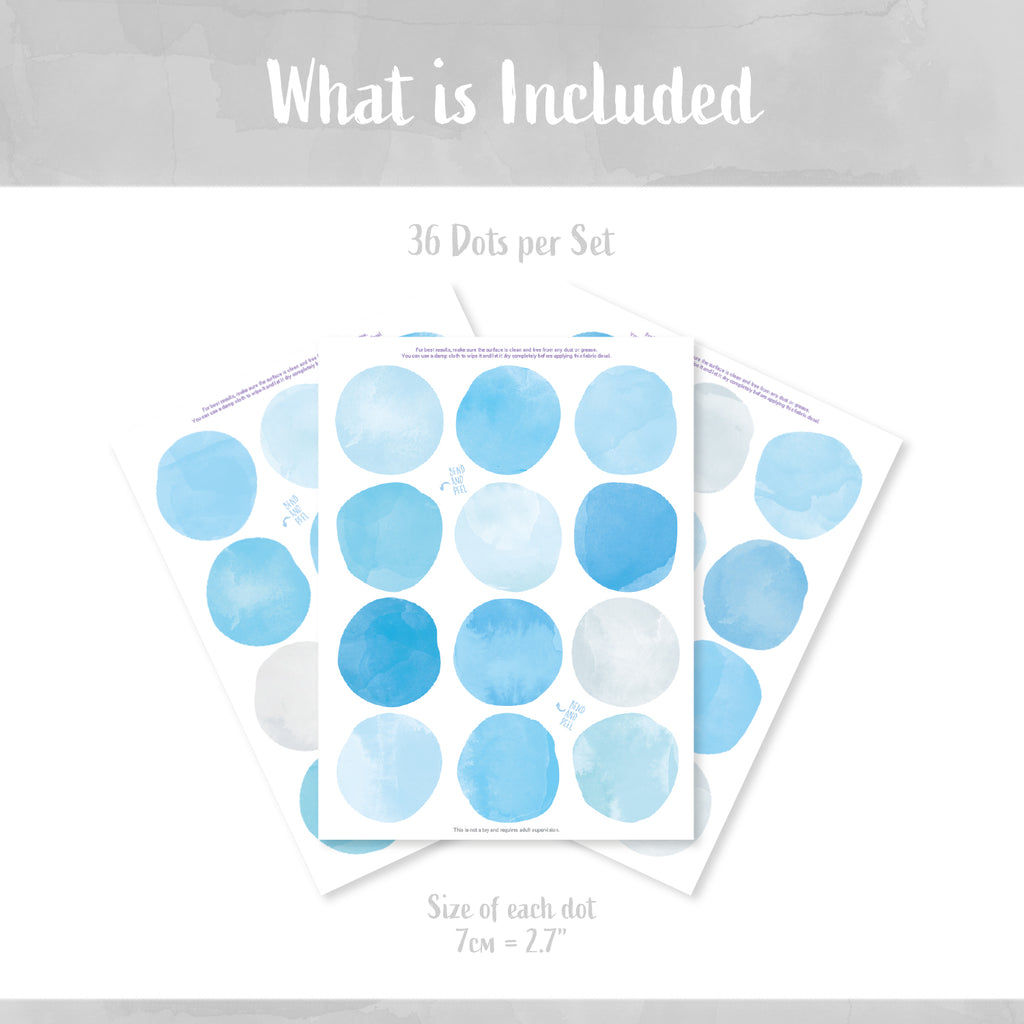 Blue Watercolour Dots Set - Polka Dots Fabric Stickers