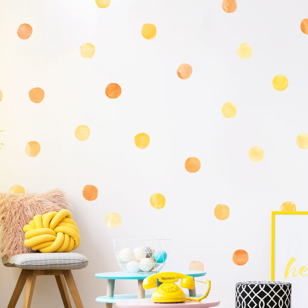 Yellow Watercolour Dots Set - Polka Dots Fabric Stickers