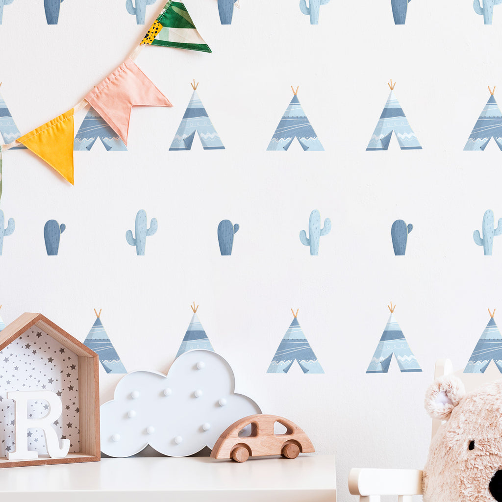 Tipi Tents & Cactus Fabric Wall Stickers
