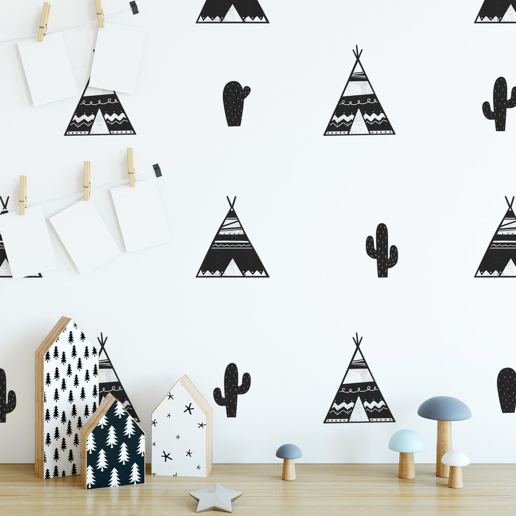 Black & White Tipis Fabric Wall Stickers