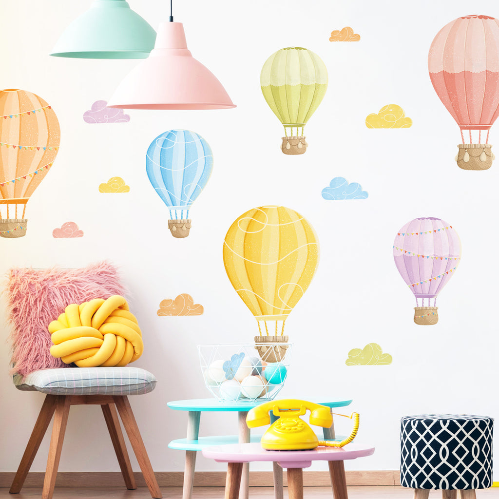 Hot Air Balloons Fabric Wall Sticker Set