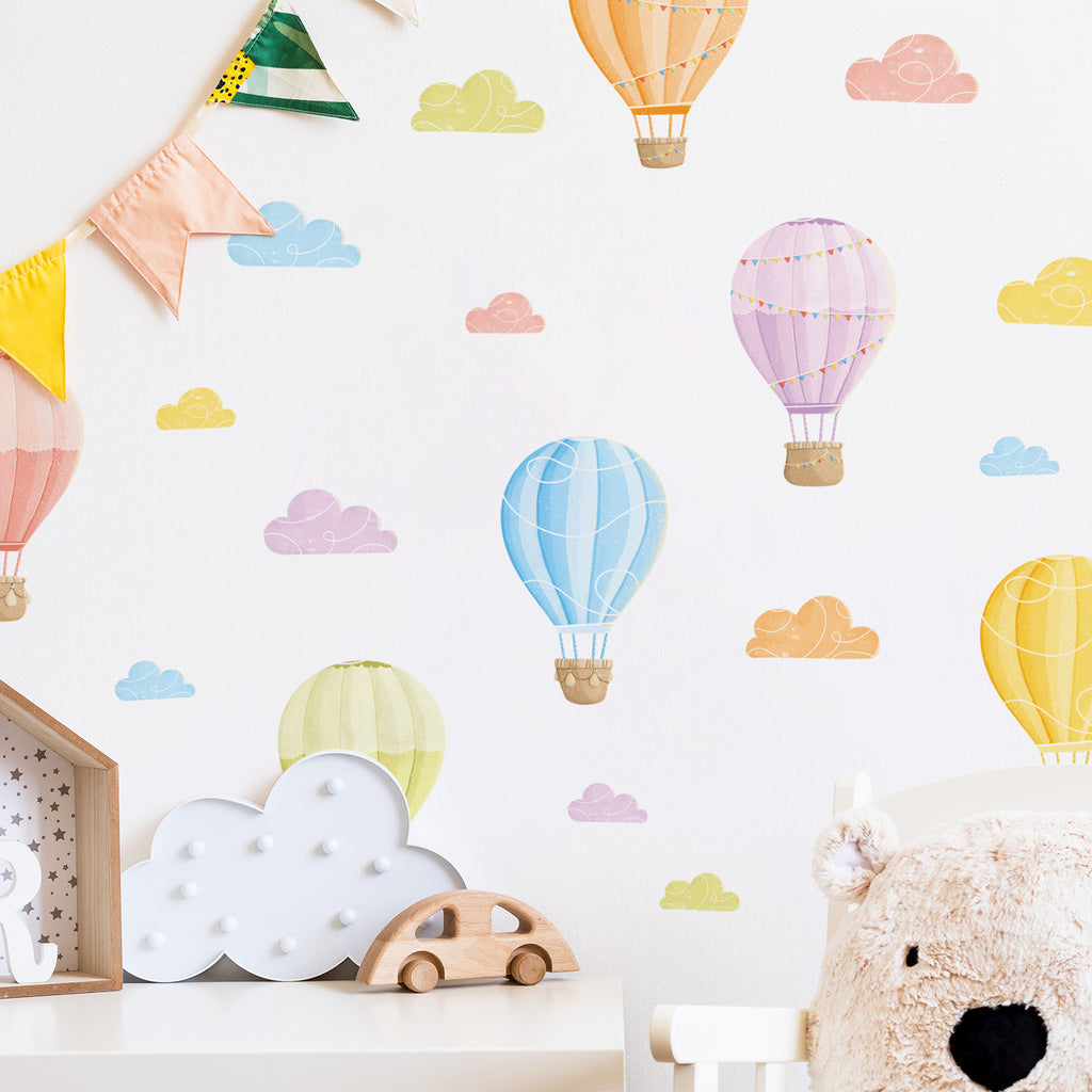 Hot Air Balloons Fabric Wall Stickers