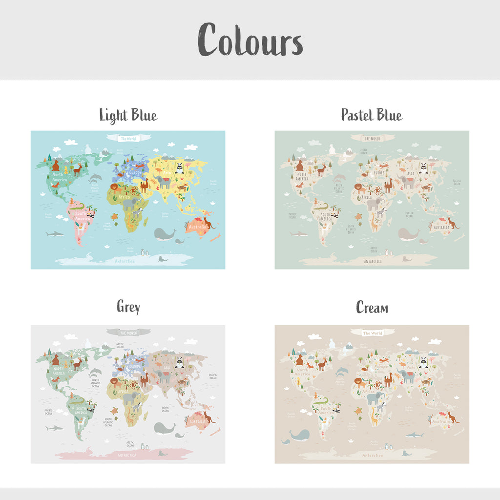 World Map & Animals Fabric Poster Sticker - Pastel Blue