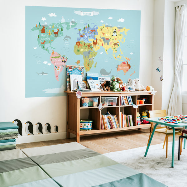 World Map Poster Sticker with Animals