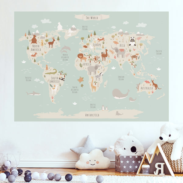 World Map - Peel and Stick Poster Sticker - Animals of the World - Pastel Blue