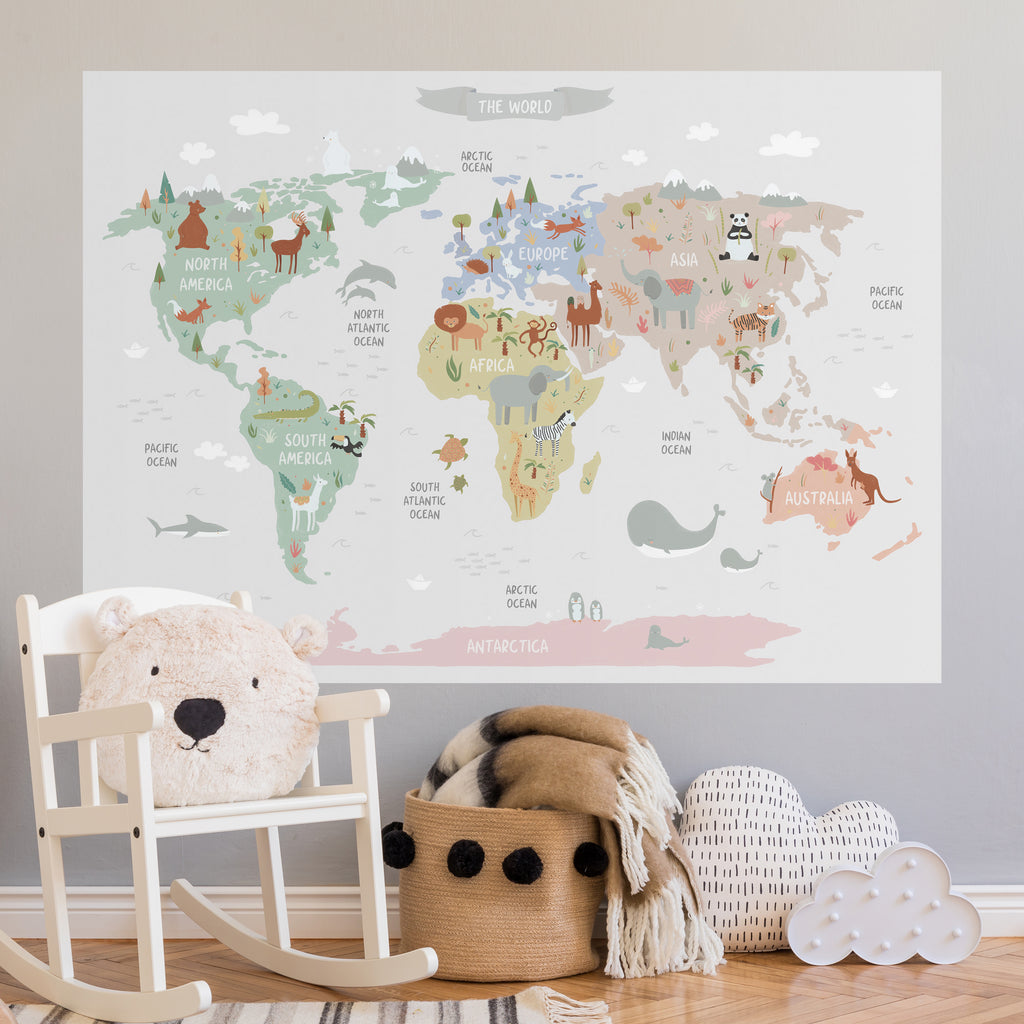 World Map & Animals Fabric Poster Sticker - Grey