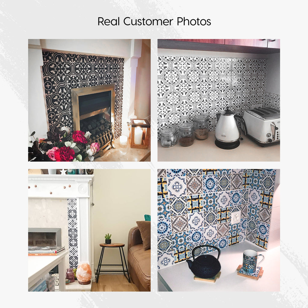 Moroccan Monochrome Tile Decals Set - PACK OF 24