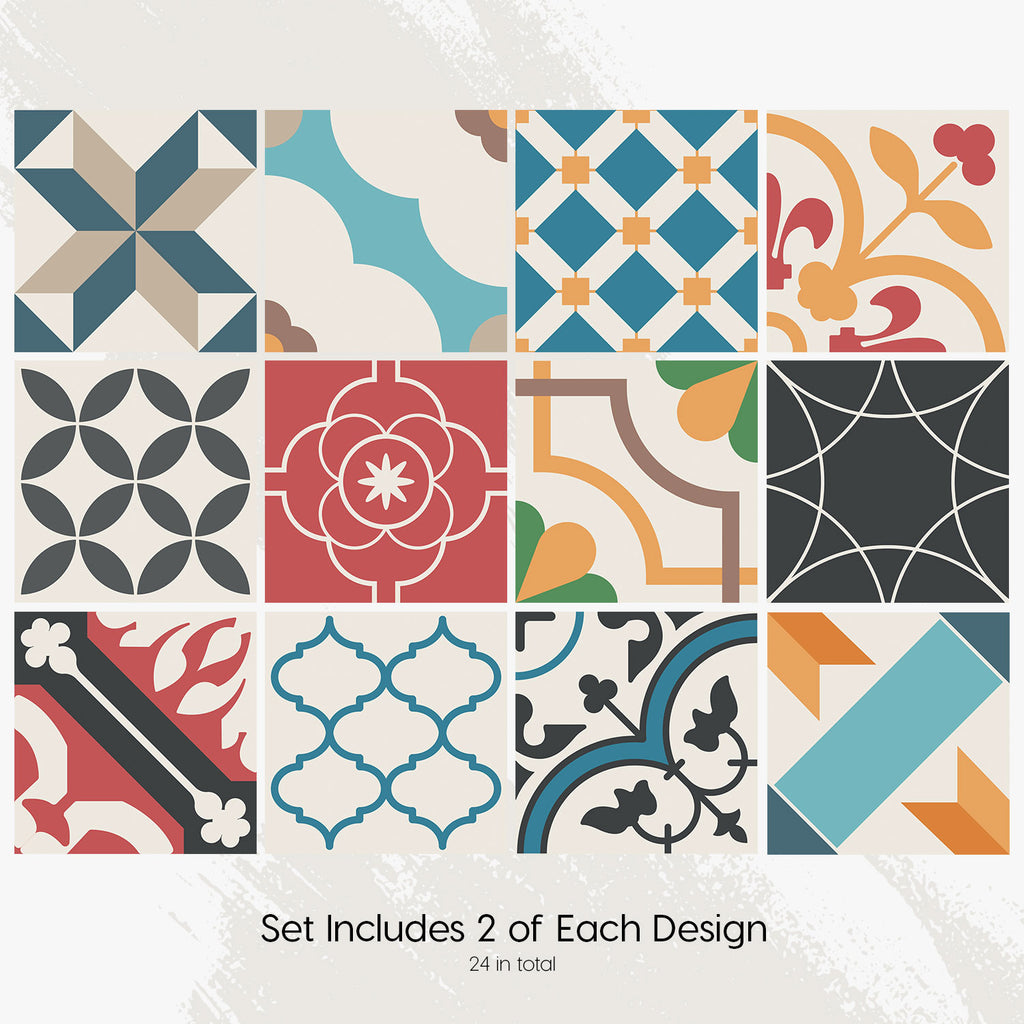 Spanish Mediterranean Tile Decals Set - PACK OF 24