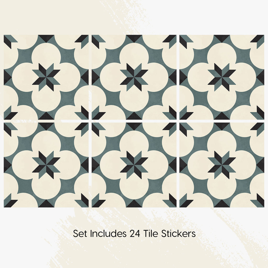 Moss Green Tile Decals Set - PACK OF 24