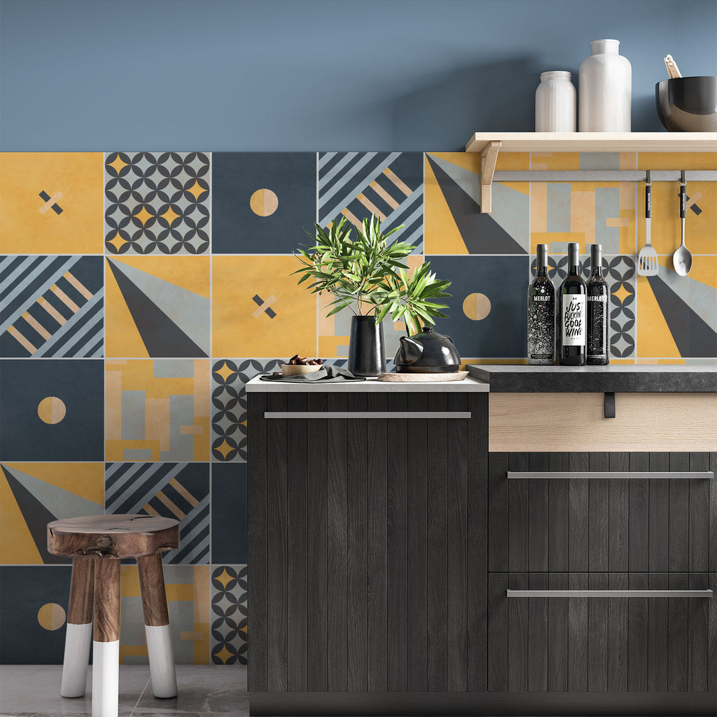 Modern Geometric Tile Decals - Tile Stickers Set for Kitchen and Bathroom - PACK OF 24