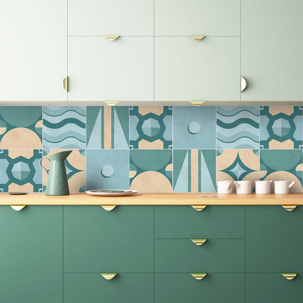Geometric Turquoise Tile Decals - Tile Stickers Set for Kitchen and Bathroom - PACK OF 24