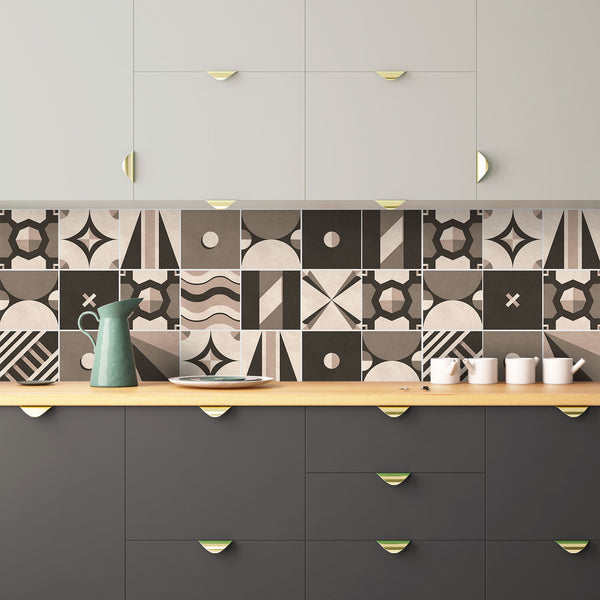 Tangram Geometric Tile Decals - Tile Stickers Set for Kitchen and Bathroom - PACK OF 24