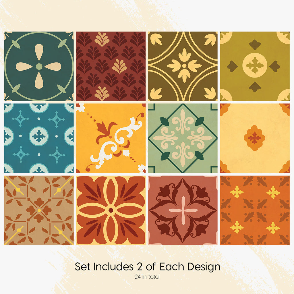 Mexican Colourful Tile Decals Set - PACK OF 24