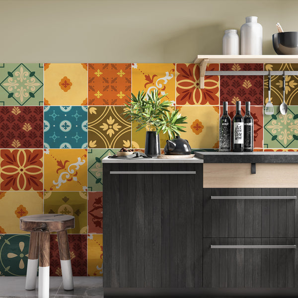 Mexican Colourful Tile Decals - Tile Stickers Set for Kitchen and Bathroom - PACK OF 24