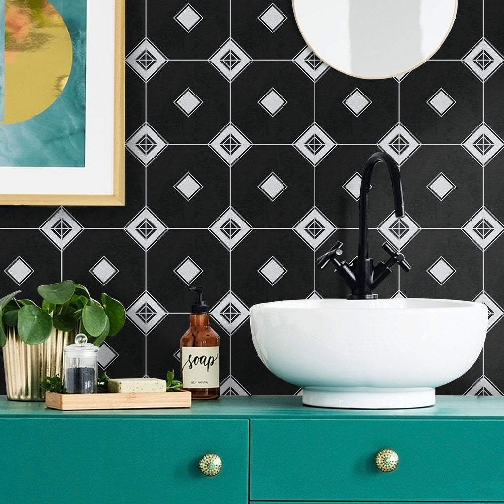 Valencia Black Tile Decals - Tile Stickers Set for Kitchen and Bathroom - PACK OF 24