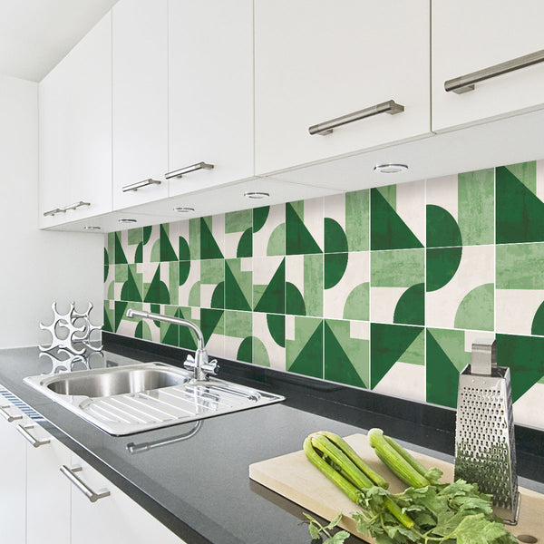 Geometric Emerald Tile Decals - Tile Stickers Set for Kitchen and Bathroom - PACK OF 24
