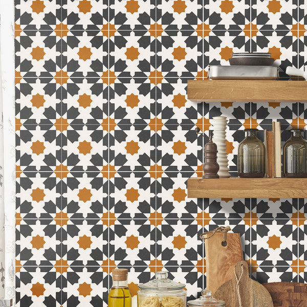 Riad Charcoal Tile Decals - Tile Stickers Set for Kitchen and Bathroom - PACK OF 24