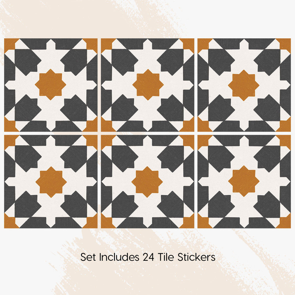 Riad Charcoal Tile Decals Set - PACK OF 24