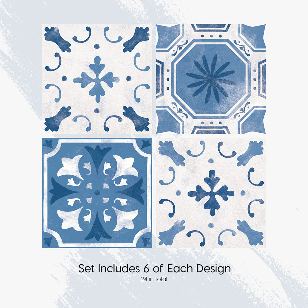 Santorini Blue Tile Decals Set - PACK OF 24