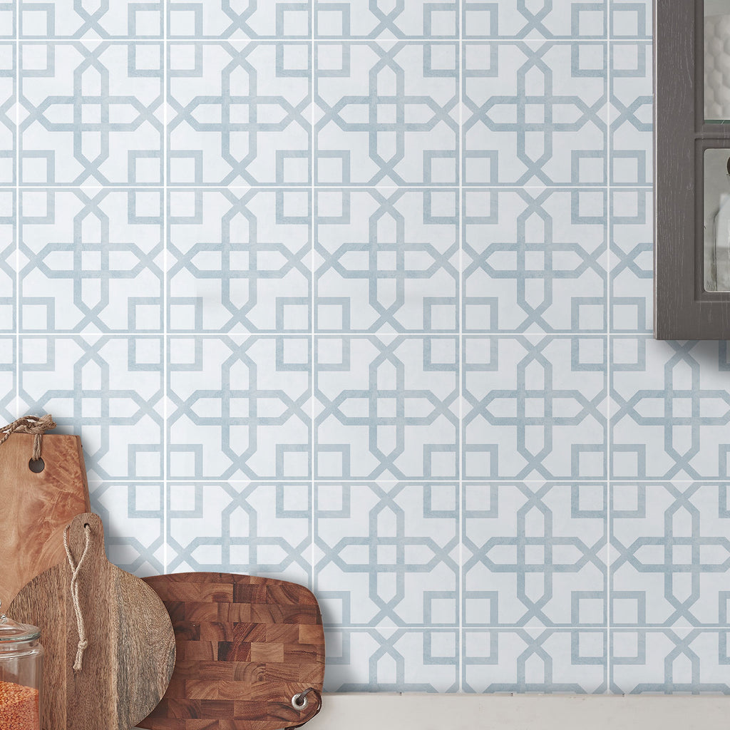 Glacier Blue Tile Decals Set - PACK OF 24