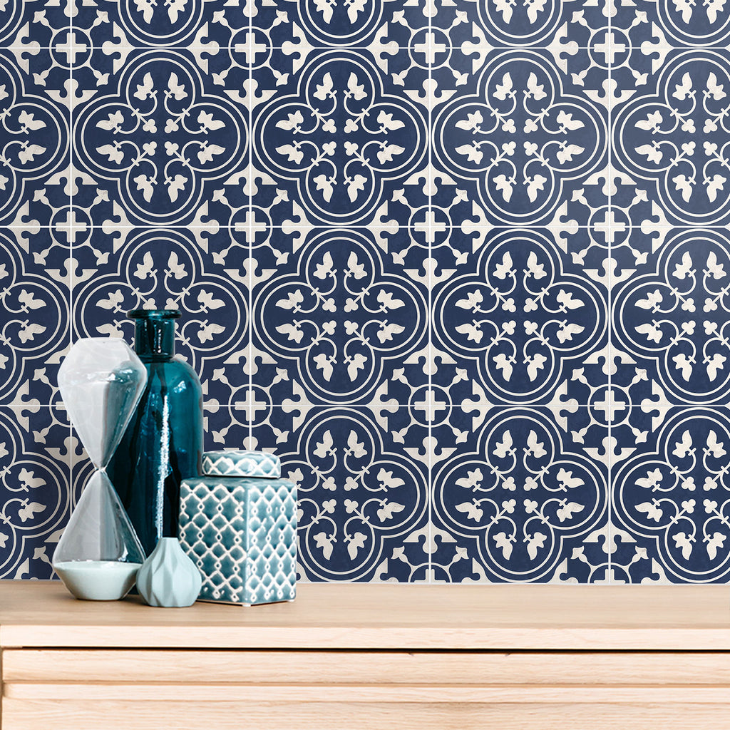 Moroccan Indigo Tile Decals Set - PACK OF 24