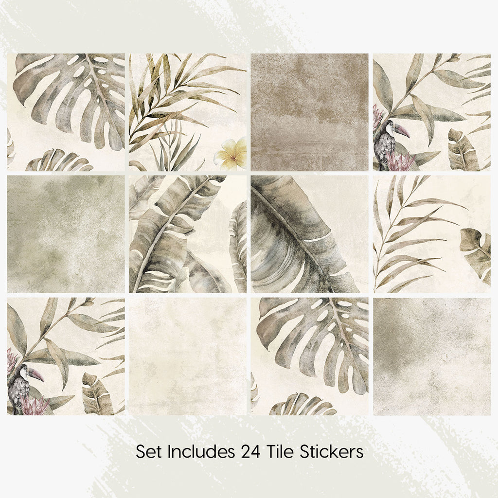 Tropical Sepia Tile Decals Set - PACK OF 24