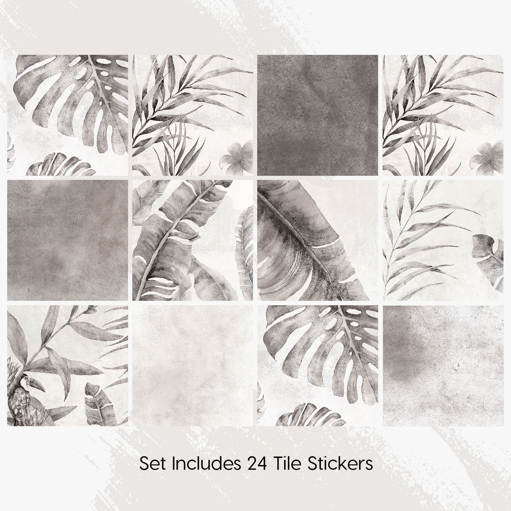 Tropical Grey Tile Decals Set - PACK OF 24