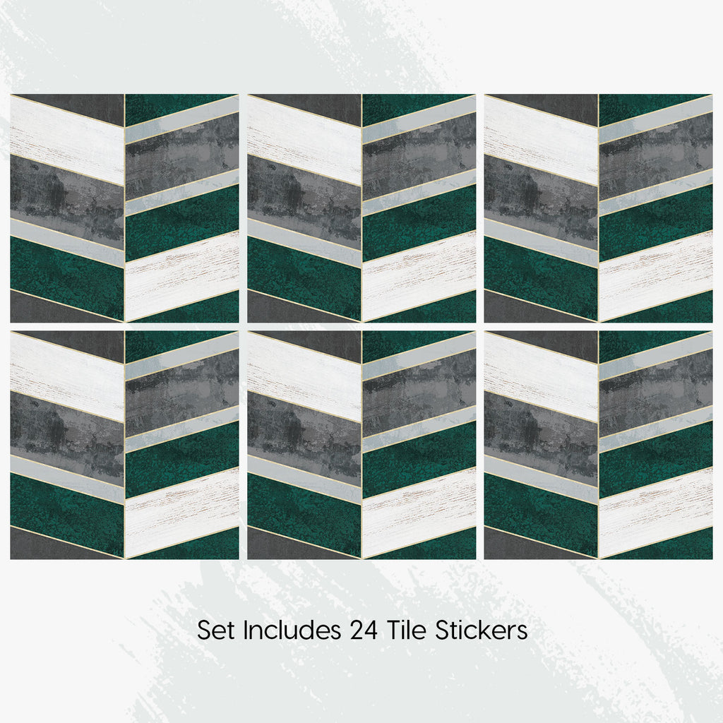 Concrete Green Tile Decals Set - PACK OF 24