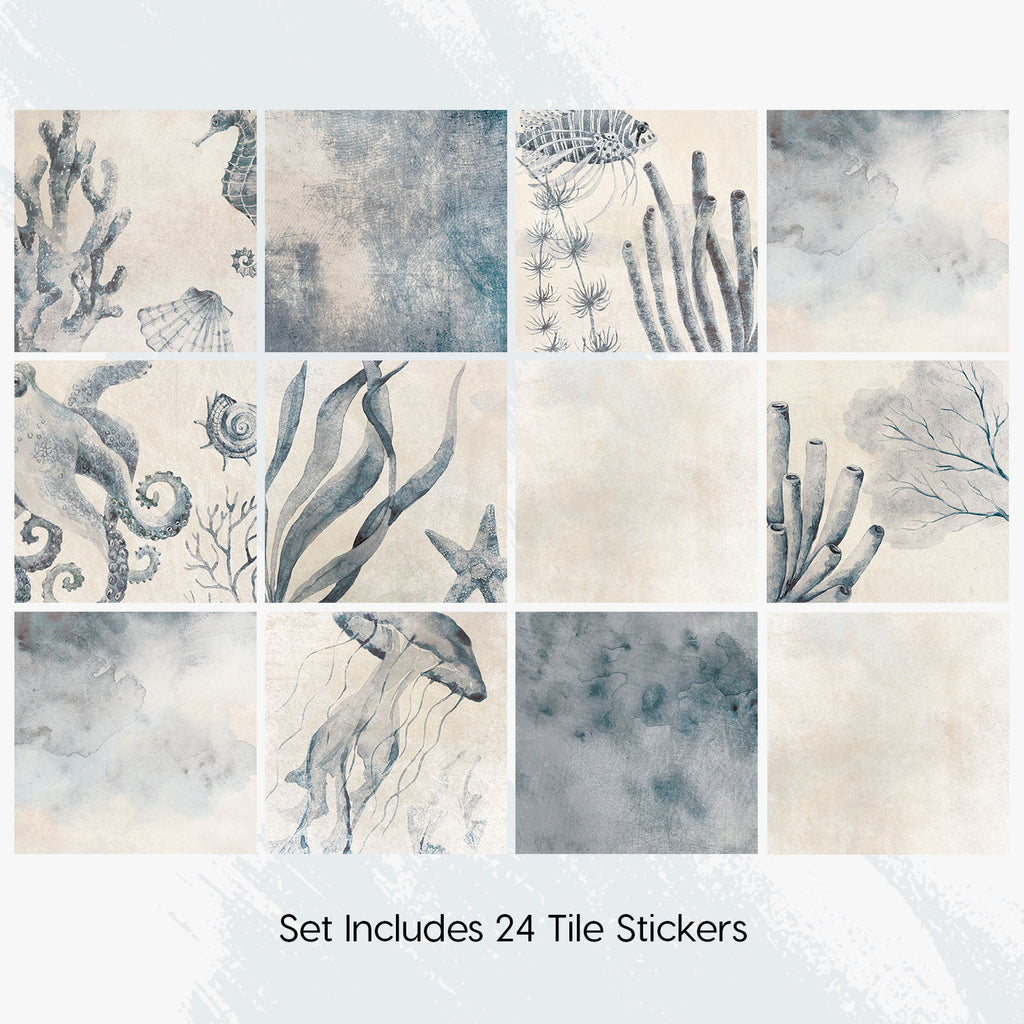 Underwater Blue Tile Decals Set - PACK OF 24