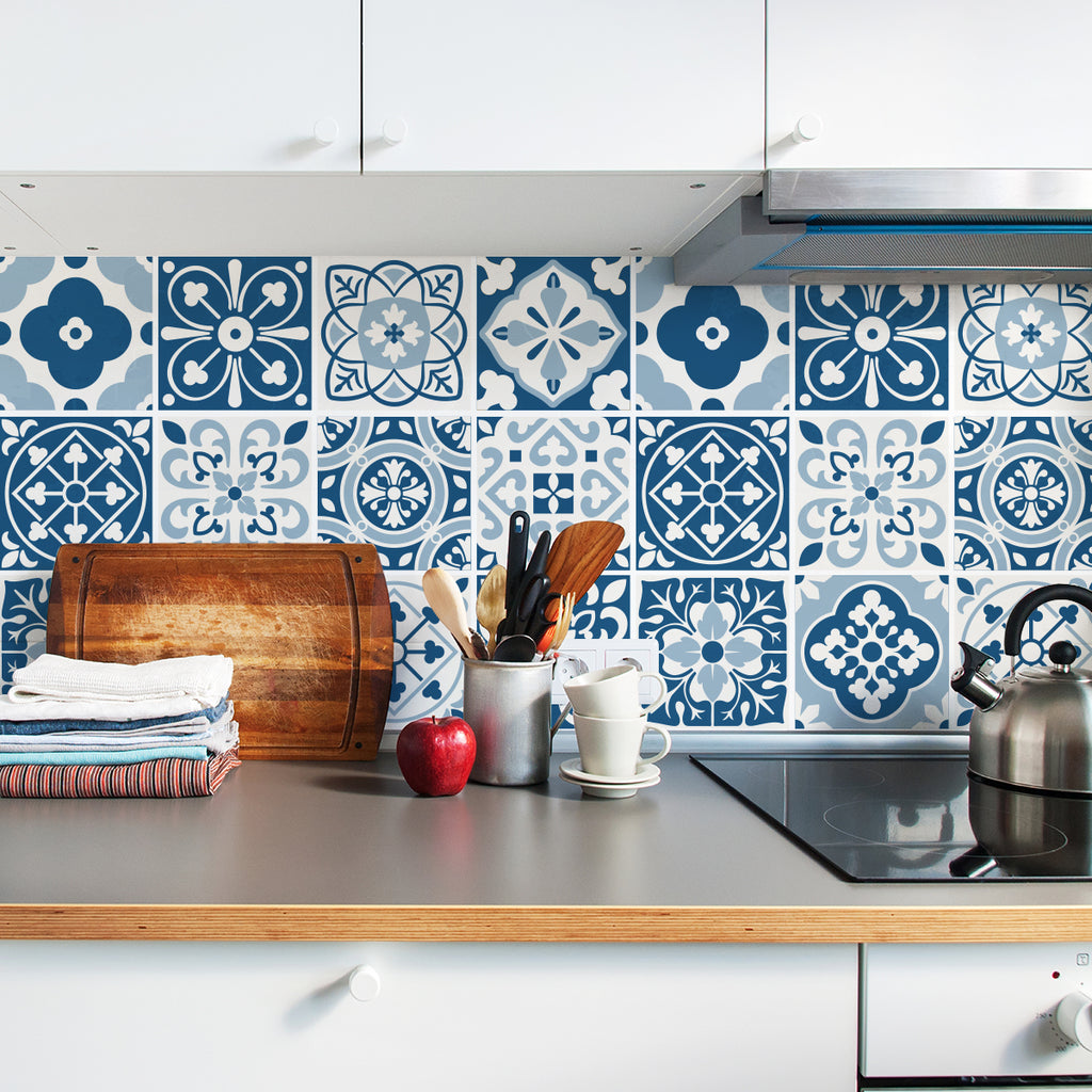 blue moroccan tile decals tile stickers set for kitchen and rh sirfacegraphics com Cream Moroccan Tile Backsplash Cream Moroccan Tile Backsplash