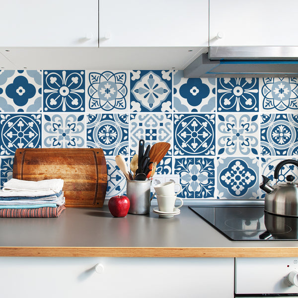 Blue Moroccan Tile Decals - Tile Stickers Set for Kitchen and Bathroom - PACK OF 24