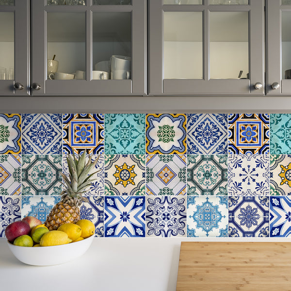 Traditional Spanish Tile Decals - Tile Stickers Set for Kitchen and Bathroom - PACK OF 24