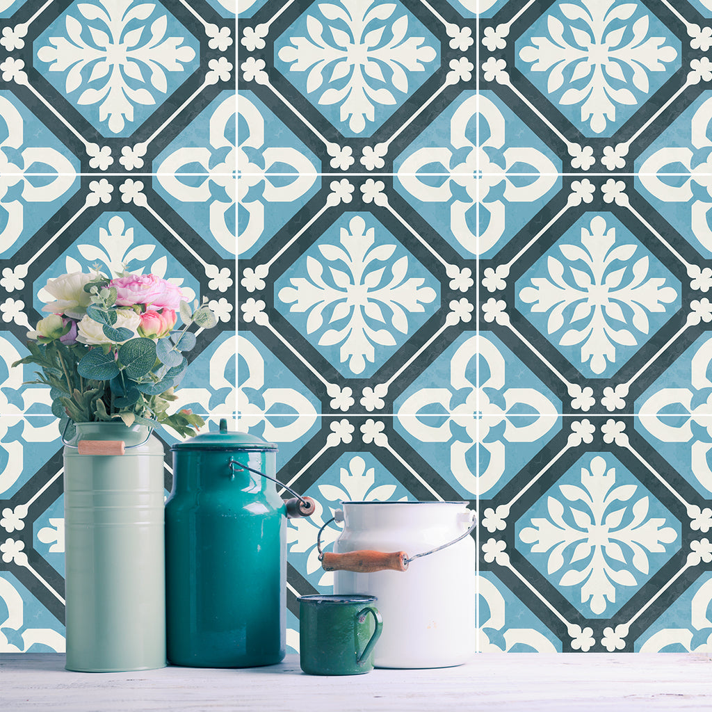 Tangier Blue Tile Decals - Tile Stickers Set for Kitchen and Bathroom - PACK OF 24