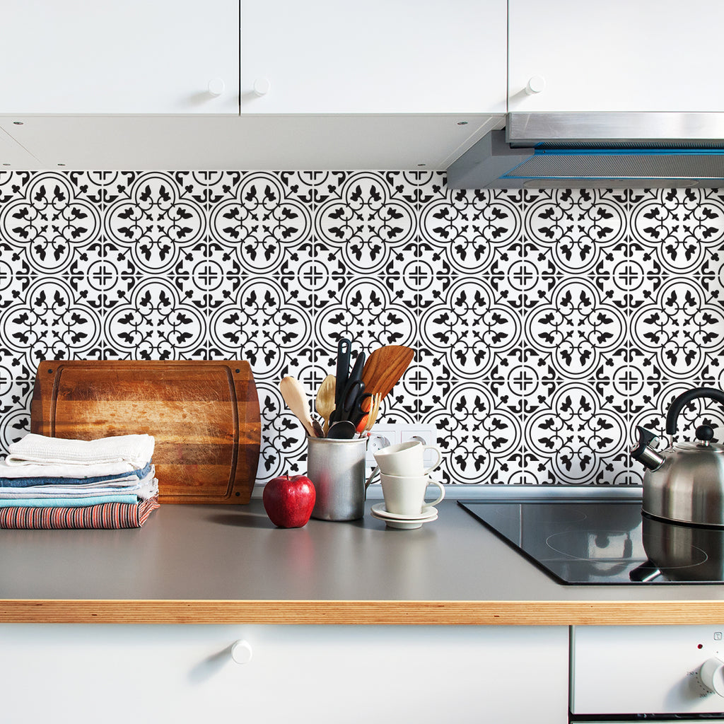 Moroccan Monochrome Tile Decals - Tile Stickers Set for Kitchen and Bathroom - PACK OF 24