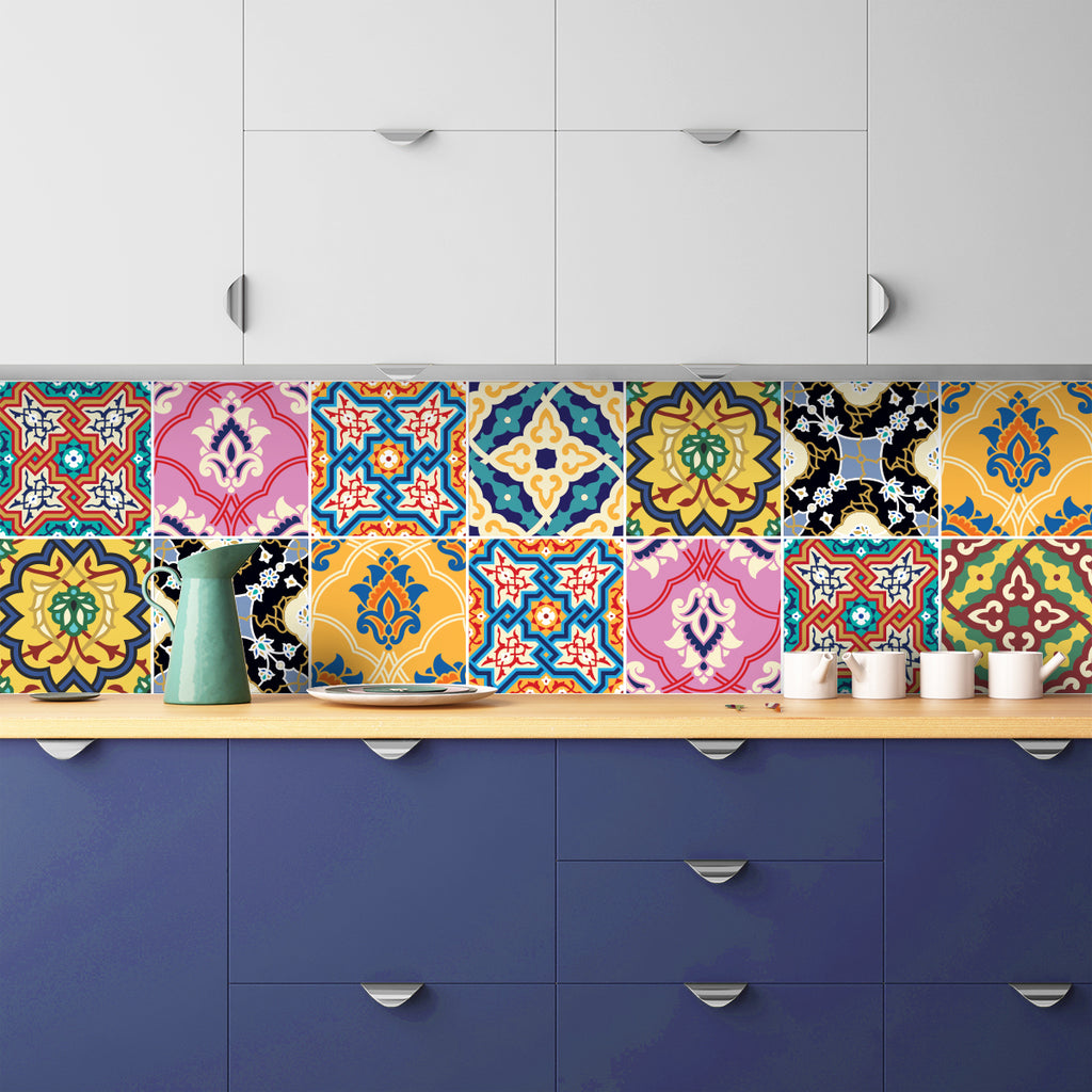 Arabic Tile Decals - Tile Stickers Set for Kitchen and Bathroom - PACK OF 24