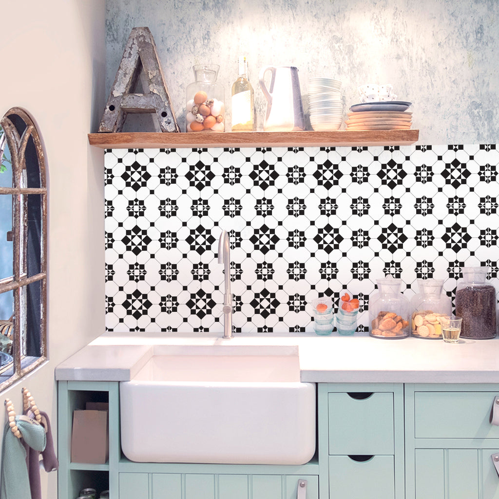 Victorian Black & White Tile Decals - Tile Stickers Set for Kitchen and Bathroom - PACK OF 24
