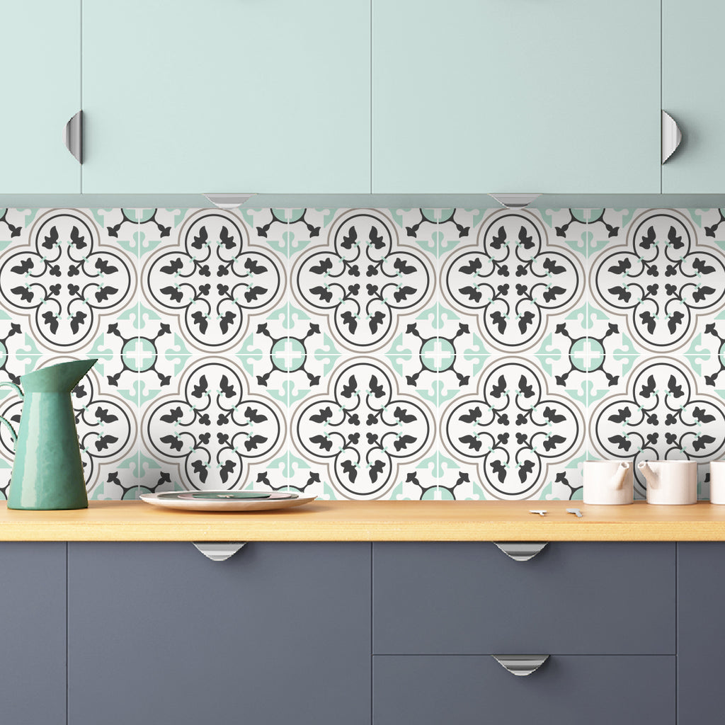Pistachio And Grey Moroccan Tile Decals - Tile Stickers Set for Kitchen and Bathroom - PACK OF 24