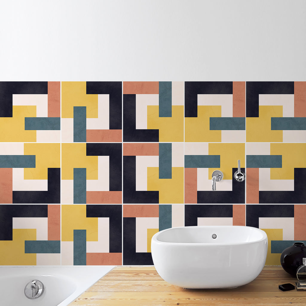 Retro Inspired Tile Decals - Tile Stickers Set for Kitchen and Bathroom - PACK OF 24