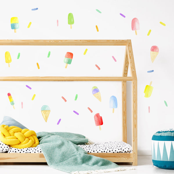Watercolour Sprinkle Wall Decals - Confetti, Popsicles and Ice Cream Cones, Fabric Wall Decal Set