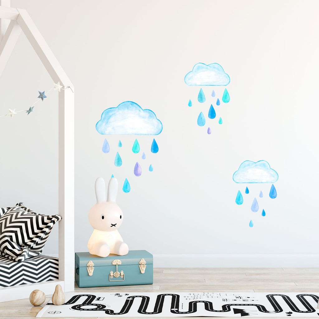 Rainy Days Watercolour Fabric Wall Stickers