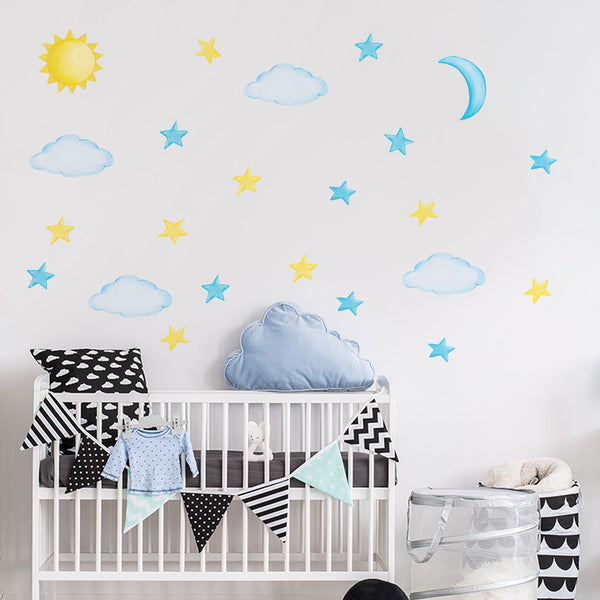 Sweet Sky Elements Set - Clouds & Stars Fabric Decals