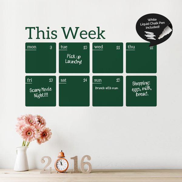 Write And Erase Weekly Planner Wall Decal Sticker