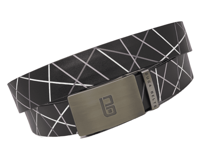 The Black Web adjustable golf belt.  Black with some white and grey lines in a web pattern on an adjustable golf belt.