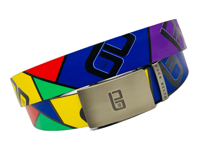 The Buca logo golf belts with some amazing colors and logo