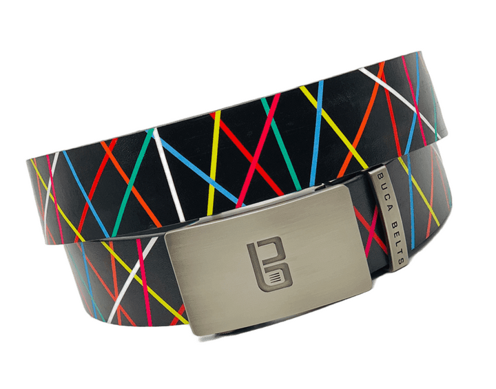 The Colorful Vertex is a black belt with lines of almost every color.  An excellent golf belt or accent to any outfit.