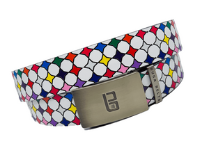 The Diamonds in the Rough golf belt from Buca Belts.  A white belt with colorful diamond pattern
