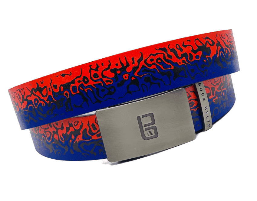 The Fire and Ice belt from Buca Belts.  A bold red and blue golf belt that really stands out from the crowd.