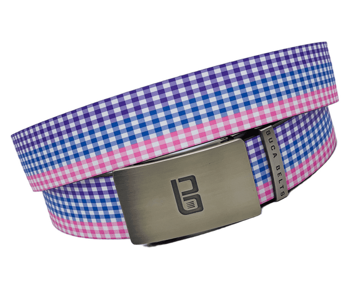 The gingham belt is a golf belt with purple, pink and blue gingham pattern across the belt.