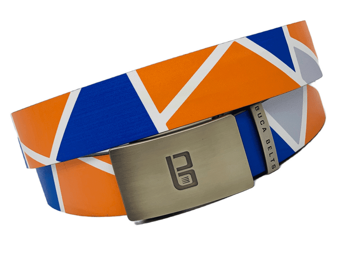A brightly colored golf belt with bright blue and orange pattern balanced with a little grey and white.