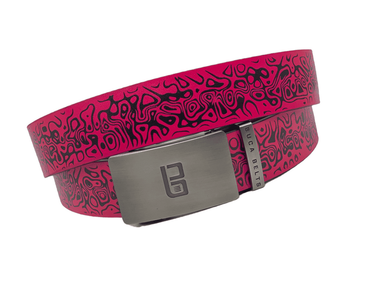 "a bold pink and black colored golf belt.  Adjstable belt to fit any size up to 48"" waist."